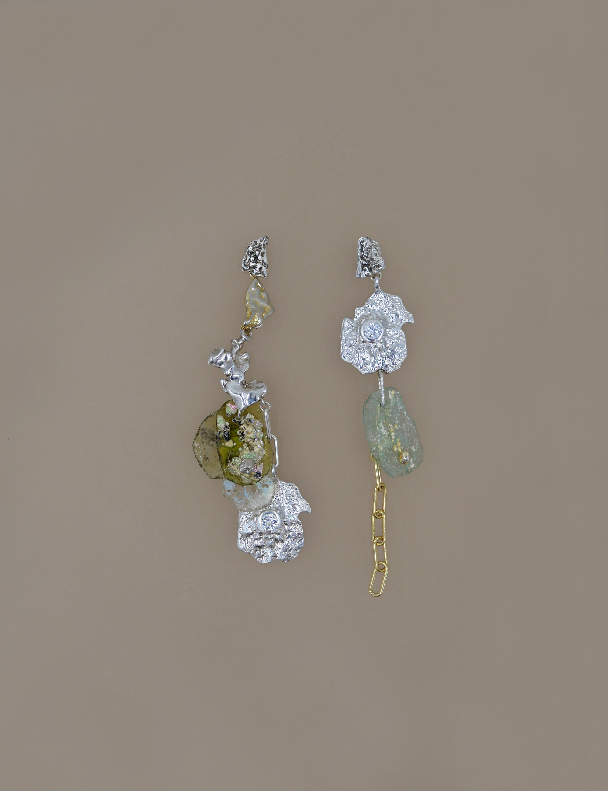 Roman Glass Unbalanced Earring