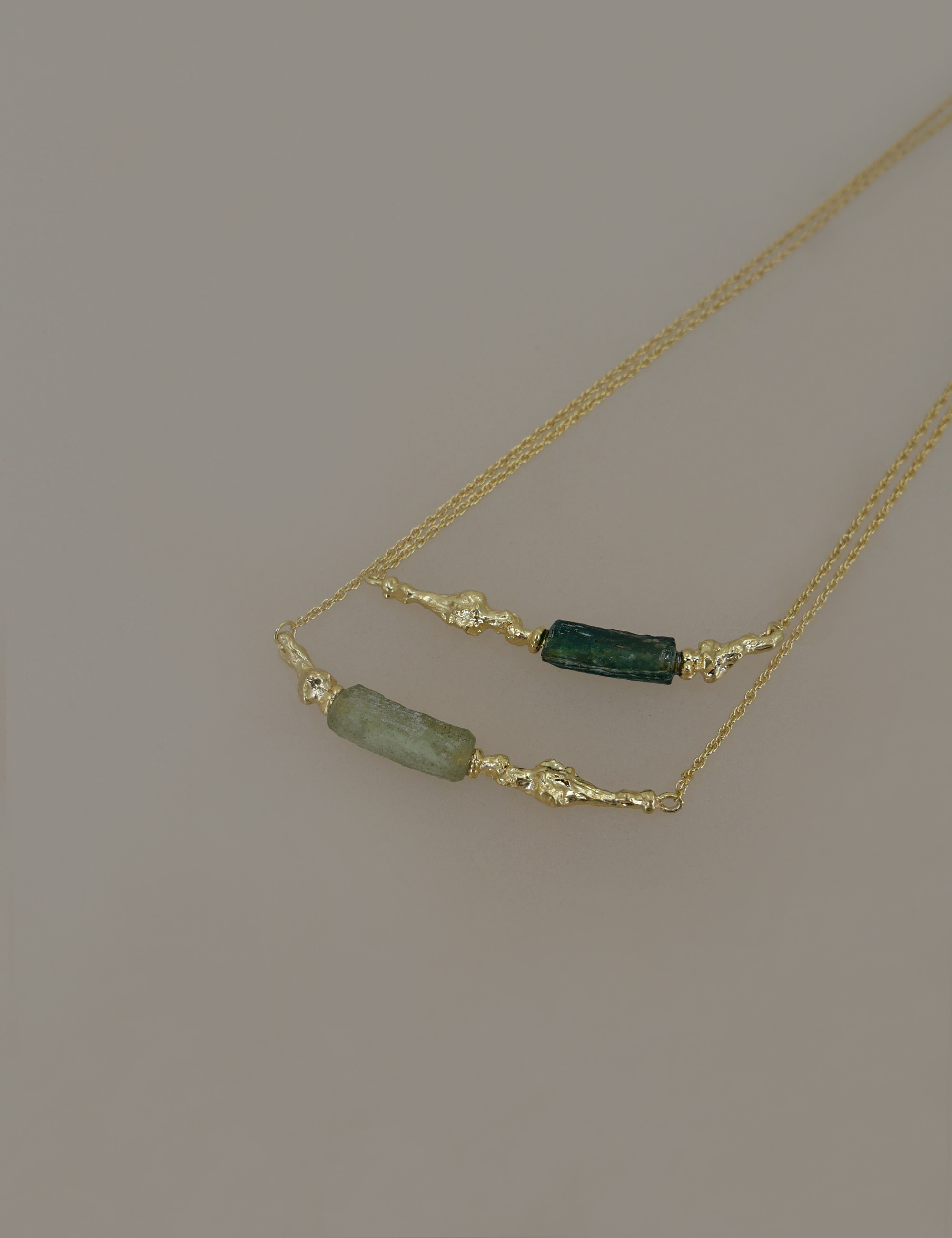 Ancient Green Roman Glass Necklace