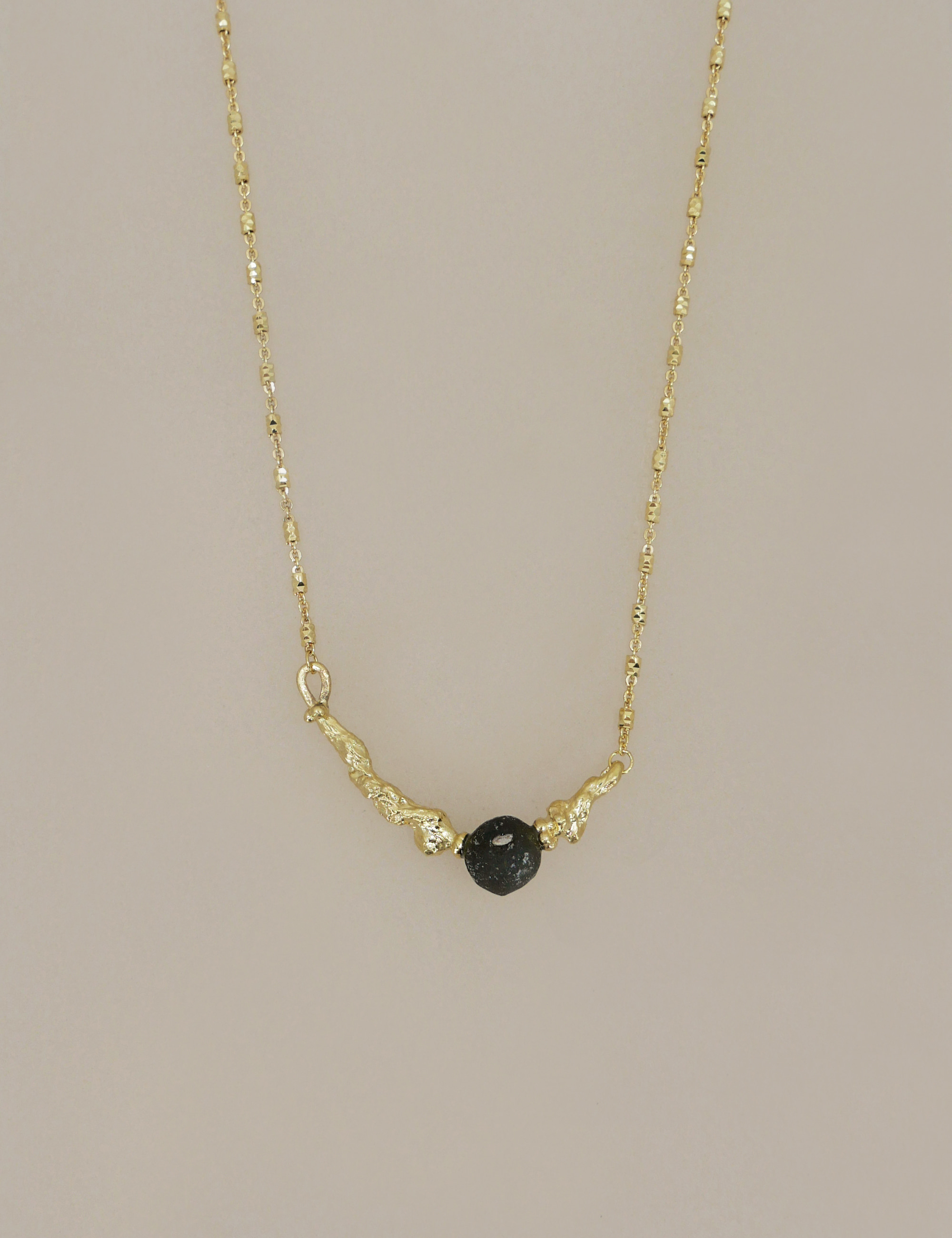 Ancient Black Ball Roman Glass Necklace