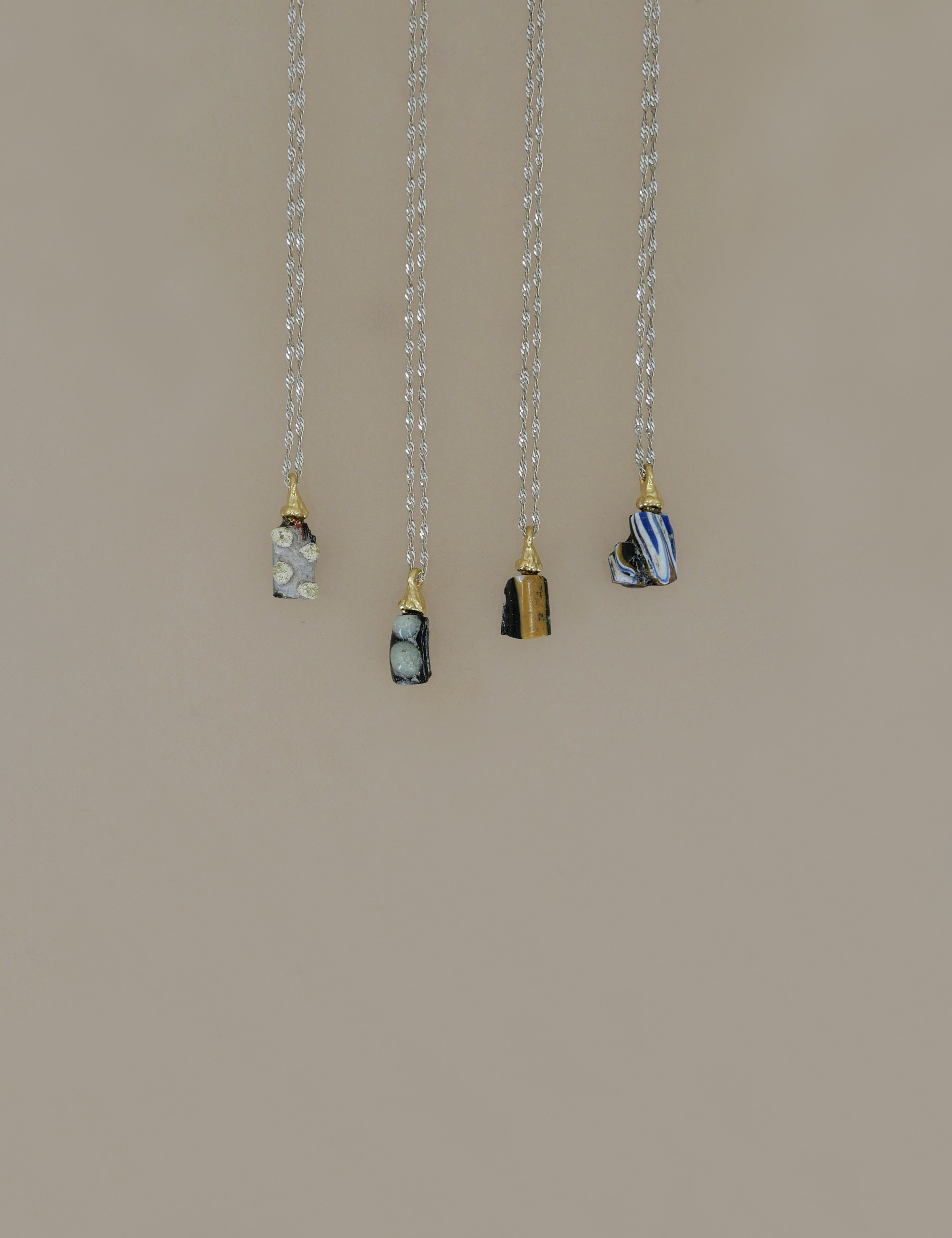 Roman Glass Mini Pieces Necklace / Mix