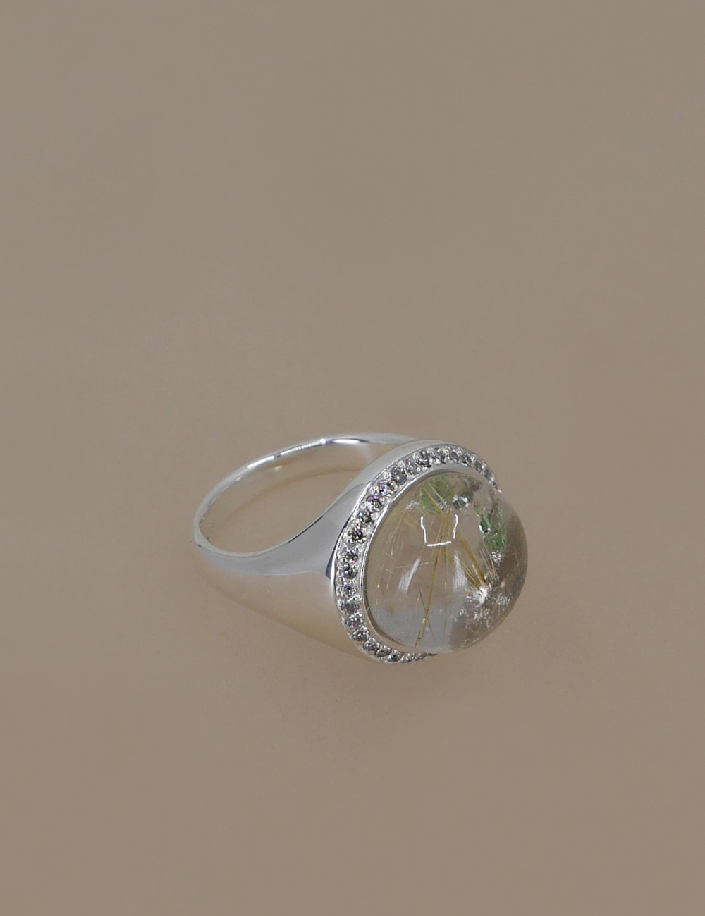 Quartz & Rough Diamond Signet Ring