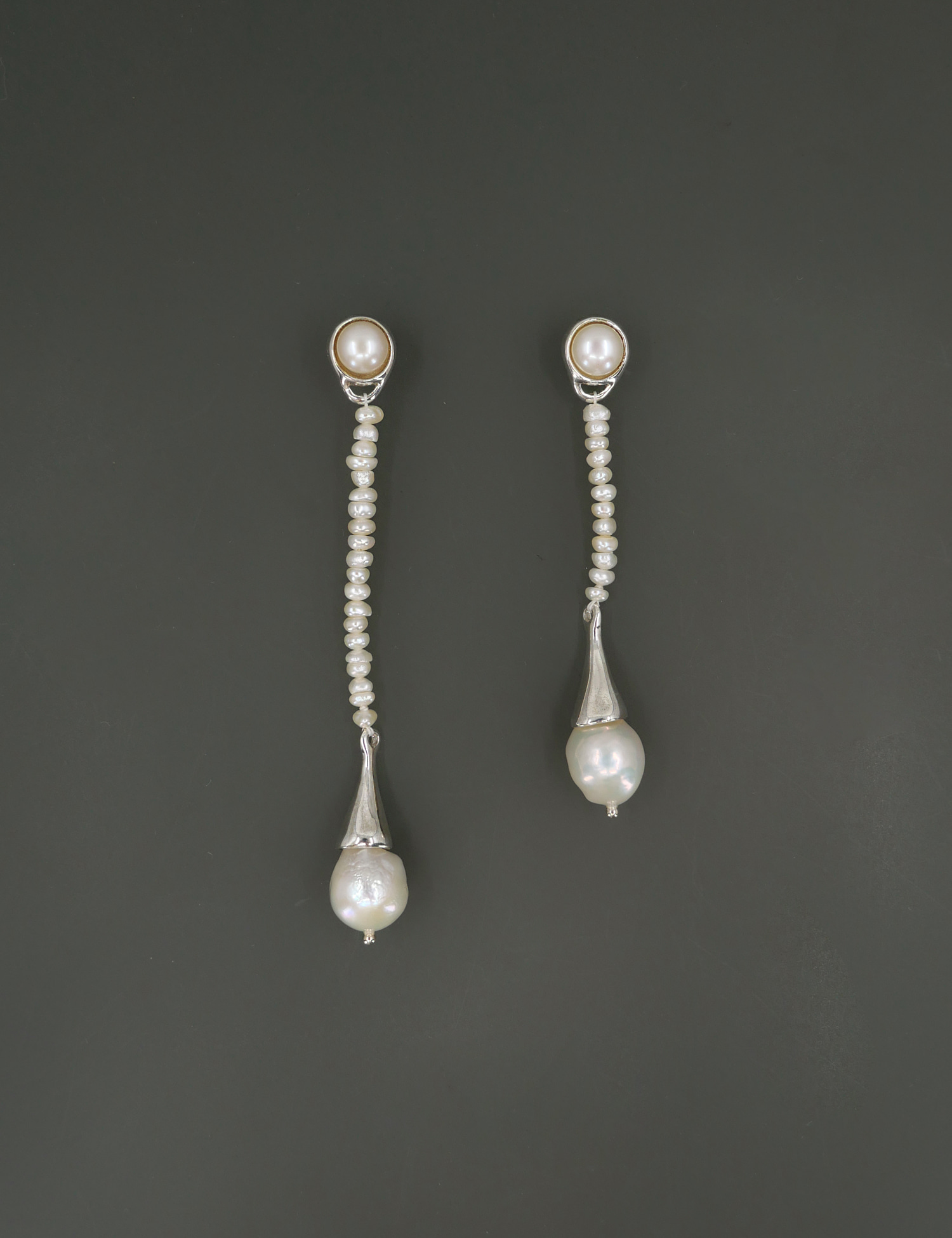Tiny Pearl Long Drop Earring